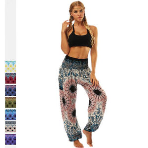 EP-Tie-dye grey flower Printed Straight Loose Yoga Pants - boost-your-inside