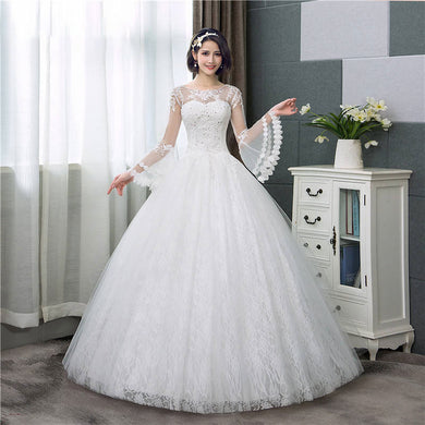 EP-Long Flare Sleeve Wedding Dresses Simple O-neck Back Lace Up Wedding - boost-your-inside