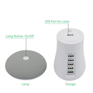 EP-Leebote Multiple USB Phone Charger Mushroom Night Lamp Charging Station Dock QC 3.0 Quick Charger for Mobile Phone and Tablet - boost-your-inside