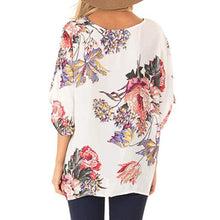 Load image into Gallery viewer, EP-Fashion Concise Bohemia Style Women's Floral Printed V Neck Ruched Twist Tops Short Sleeve Loose Casual Vacation Shirts - boost-your-inside