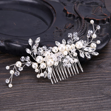 EP- European Design Leaves Wedding Hair Accessories Pearl Crystal Flower Bridal Hair Comb Wedding Hair Jewelry - boost-your-inside