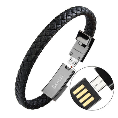 EP-Travel Fast USB Phone Chargers Jewelry Black Punk Rubber Silicone Braided Leather Bracelet  Men Stainless Steel Magnetic Clasp - boost-your-inside