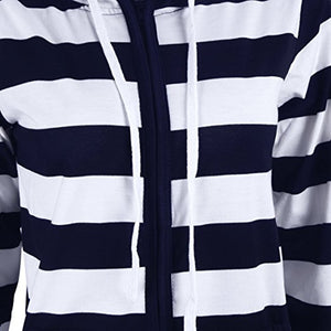 EP-Autumn Women Striped Hoodies Sweatshirt Long Sleeve Hooded Zipper Pockets Jackets Casual Plus Size Tracksuit Womens Clothes - boost-your-inside