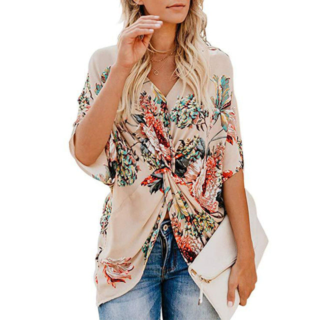 EP-Fashion Concise Bohemia Style Women's Floral Printed V Neck Ruched Twist Tops Short Sleeve Loose Casual Vacation Shirts - boost-your-inside