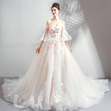 EP-Luxury Wedding Dress The Bride Sweetheart Lace Appliques A-line Beading Sweep Train Wedding Gown Wedding Dress - boost-your-inside