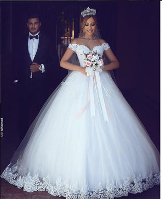 EP-White Lace Appliques Ball Gown  Wedding Dresses - boost-your-inside