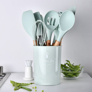 EP-9 or 12pcs Cooking Tools Set Premium Silicone Kitchen Cooking Utensils Set With Storage Box Turner Tongs Spatula Spoon Turner - boost-your-inside