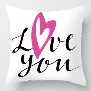 EP-Fashion Pink Letter Pillow Case 45*45 Polyester Home Throw Pillows Soft Decorative Cushion Cover For Sofa Chair Pillow Covers - boost-your-inside