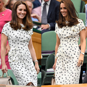 EP-Kate Middleton Princess Vintage Print Dress Fashion O-Neck Short Sleeve Pleated Dresses - boost-your-inside