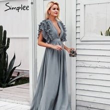 Load image into Gallery viewer, EP-Simplee Elegant v neck long dresses Ruffles high waist women dresses Evening party female sexy maxi dress vestidos festa - boost-your-inside