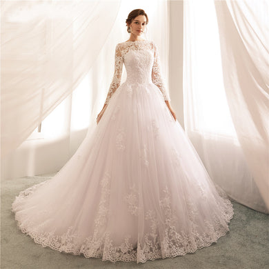 EP-Vestido de Noiva Long Sleeves Wedding Dresses 2019 Lace A Line Wedding Gowns Sexy Sheer New Arrival Bride Dress Robe De Mariee