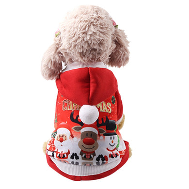 EP-Christmas Pet dog clothes Winter Comfortable soft Hoodied Sweatshirts print Christmas pattern clothing - boost-your-inside