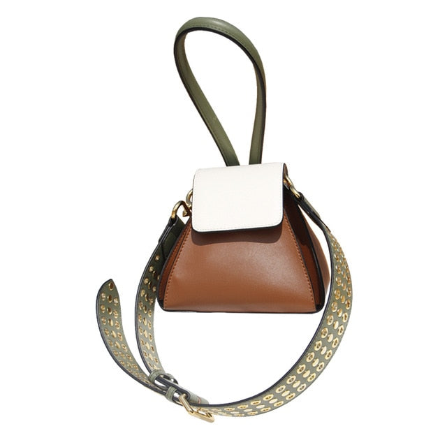 EP-Spring Summer Woman New Stylish Hit Color Single Strap Spliced Rivet PU Leather Shoulder Bag All Match - boost-your-inside