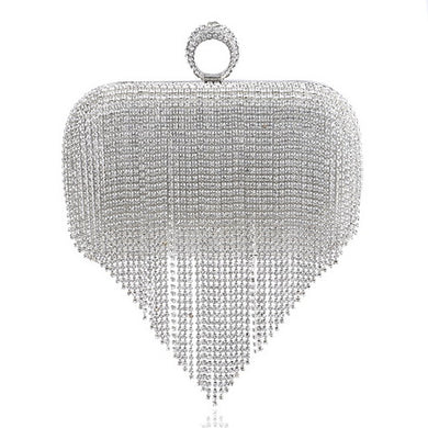 EP-Tassel Rhinestone Finger Ring Evening Bags Diamonds Wedding Handbags Women Day Clutch Mini Purse Bag With Chain - boost-your-inside