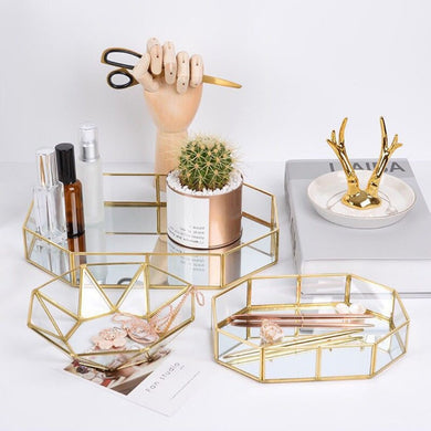 EP-Retro Brass Storage Tray Golden Polygon Glass Makeup Organizer Tray Dessert Snack Plate Jewelry Display Stand Home Kitchen Decor - boost-your-inside