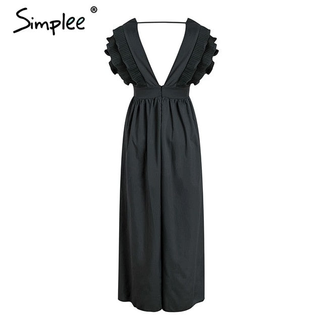 EP-Simplee Elegant v neck long dresses Ruffles high waist women dresses Evening party female sexy maxi dress vestidos festa - boost-your-inside