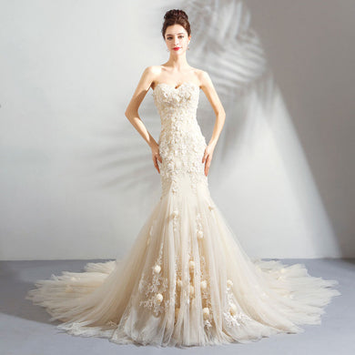EP-Romantic Light Champagne Mermaid Wedding Dress Sweetheart Lace Flower Fishtail Wedding