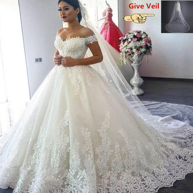 EP-Princess Wedding Dresses Off Shoulder Applique Lace Sweetheart Ball Gown Bridal Robe - boost-your-inside