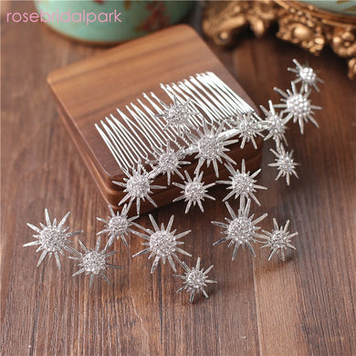 EP-rosebridalpark new silver rhinestone flower headdress crystal combs hairpins wedding bride hair pins accessories bridal jewelry - boost-your-inside
