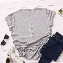 Load image into Gallery viewer, EP-Plus Size S-5XL New Moon Planet Print T Shirt Women Shirts O Neck Short Sleeve Summer T-Shirt Tops - boost-your-inside