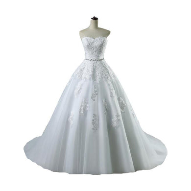 EP-Lace flower Sweetheart White Ivory Fashion Sexy Wedding Dresses for brides - boost-your-inside