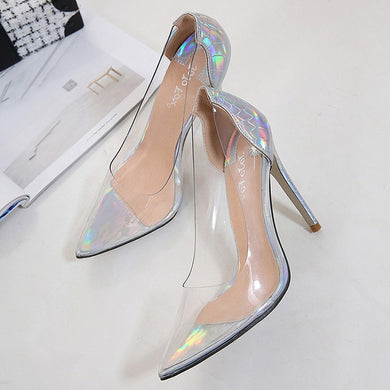 Ladies Transparent Shoes High Heels Sexy Women Thin Heel Pumps Wedding Shoes - boost-your-inside
