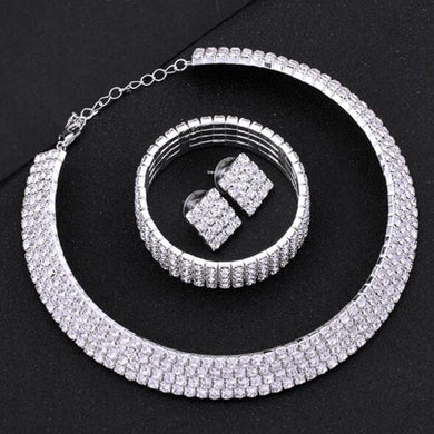 Silver Circle Crystal Bridal Jewelry Sets - boost-your-inside