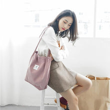 Load image into Gallery viewer, EP-High Capacity Women Corduroy Tote Ladies Casual Shoulder Bag Foldable Reusable Shopping Beach Bag - boost-your-inside