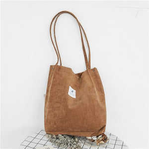 EP-High Capacity Women Corduroy Tote Ladies Casual Shoulder Bag Foldable Reusable Shopping Beach Bag - boost-your-inside