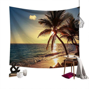 Lychee Coconut Palm Beach Painting Wall Hanging Tapestry Polyester Blanket Art Wall Carpet Home Decorative Tapestry - boost-your-inside