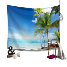 Load image into Gallery viewer, Lychee Coconut Palm Beach Painting Wall Hanging Tapestry Polyester Blanket Art Wall Carpet Home Decorative Tapestry - boost-your-inside