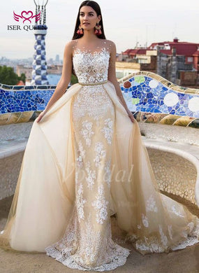 EB-High Quality Arab Mermaid Wedding Dress With Detachable Train Sleeveless Sheer Neck Embroider Custom made Wedding Dresses W0332 - boost-your-inside