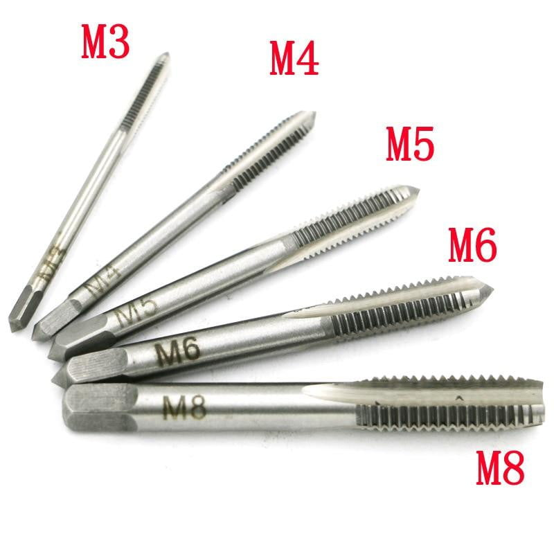 New 5PCS/Set HSS M3 M4 M5 M6 M8 Machine Spiral Point Straight Fluted Screw Thread Metric Plug Hand Tap Drill - boost-your-inside