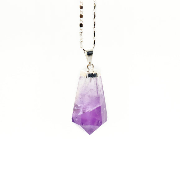 Amethyst Hexagon Teardrop Necklace