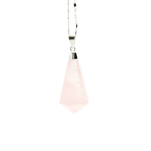 Rose Quartz Hexagon Teardrop Necklace