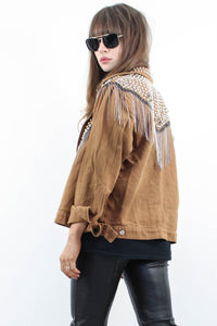 The Chain Studded Tan Jacket - little-lies-uk
