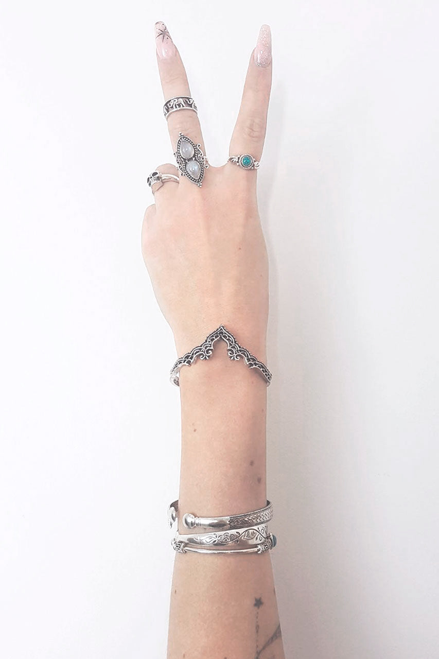 Silver Henna Bangle - little-lies-uk