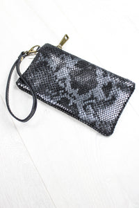 Grey Snakeskin Purse