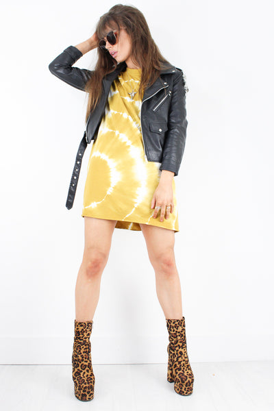Teen Spirit Mustard Tie Dye T-Shirt Dress