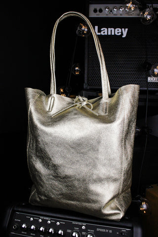 Fearless Genuine Leather Gold Tote