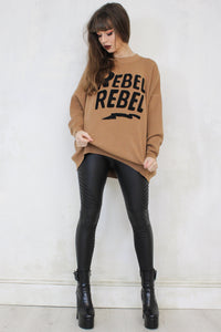 Tan 'Rebel Rebel' Jumper