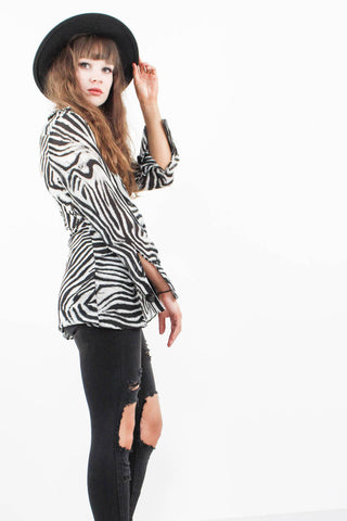 Jagger Sheer Zebra Blouse - little-lies-uk