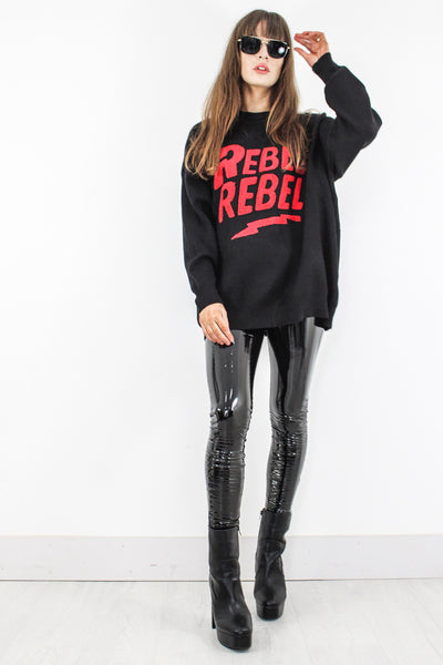 Black 'Rebel Rebel' Jumper - little-lies-uk
