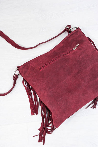 Ruby Red Genuine Suede Fringed Bag - little-lies-uk