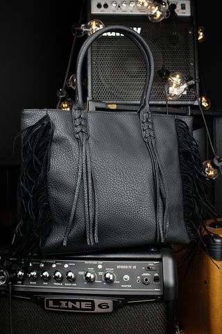Eclipse Fringed Black Shoulder Bag