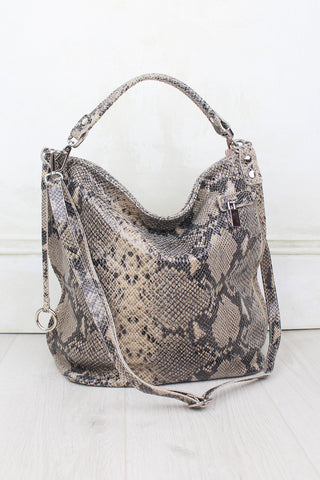 Rattlesnake Shake Genuine Leather Slouch Bag