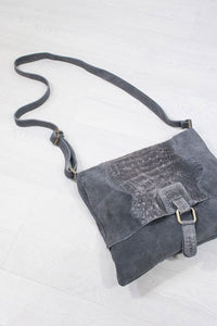 Genuine Suede Slouch Satchel Grey - little-lies-uk