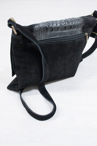 Genuine Suede Slouch Satchel Black - little-lies-uk