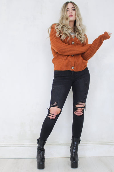 Love Kills Rust Cardigan