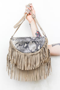 Viper Fringed Suede Bag Sand